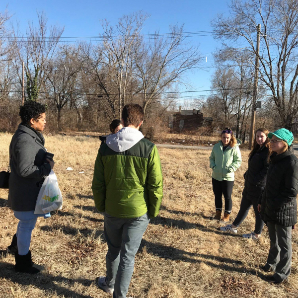 students talking outdoors